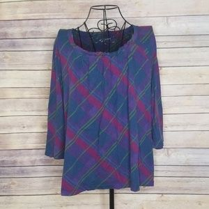 Jones New York XL plaid 3/4 sleeve top